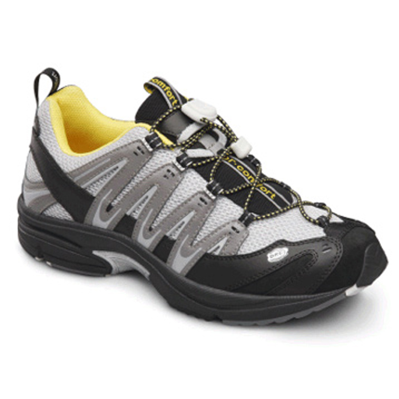 Dr Comfort Performance Athletic Shoe in Grey/Yellow Size 7